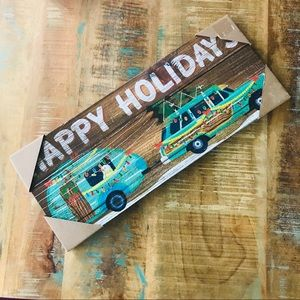 Happy Holiday Rustic Camper Home Decor NWT